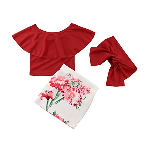 Summer Kids Baby Girl Outfit Set Off Shoulder Ruffles Tops+ Casual Short Sheath Skirt Clothes with Headband (2-3Years, Red) ()