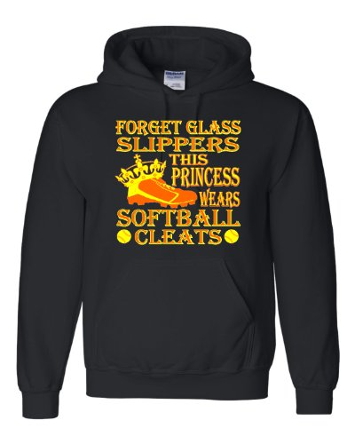 Go All Out Medium Black Adult Forget Glass Slippers This Princess Wears Cleats Sweatshirt (Princess Adult Hoody Sweatshirt)