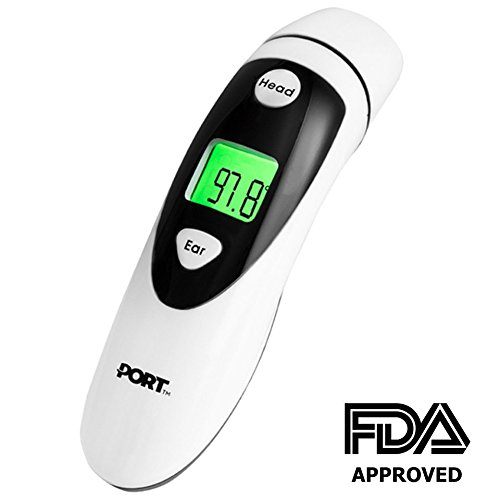 PORT Ear & Forehead Medical Infrared Lens Thermometer For Babies & Adults | Accurate, Precise, Lighting Fast Readings On LED Backlit Screen | Safe & Non Invasive Temperature Taking & Convenient Use