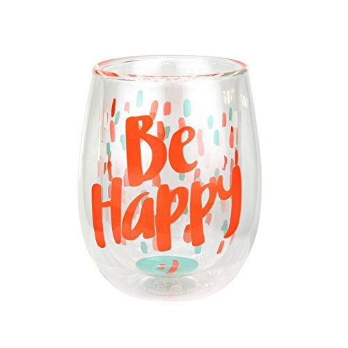 """Top Shelf Double Wall Stemless """"Be Happy"""" Inspirational W..."""