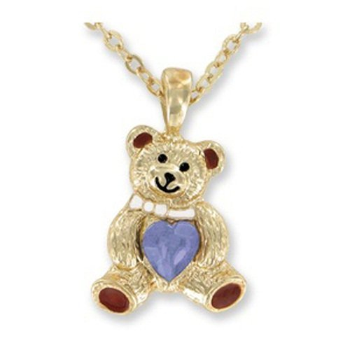 teddy bear BIRTHSTONE pendant Necklace - JUNE - faux Alexandrite by - Bear Birthstone June