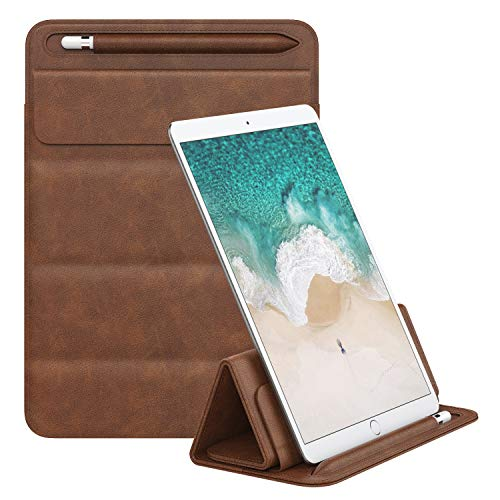 MoKo 9-11 Inch Sleeve Bag, PU Leather Trifold Stand Case Cover, Portable Tablet Pouch Organizer with Pen Holder Fits iPad Air 3 10.5″ 2019, iPad Pro 11, iPad Pro 10.5, iPad Pro 9.7, iPad Air 2 – Brown