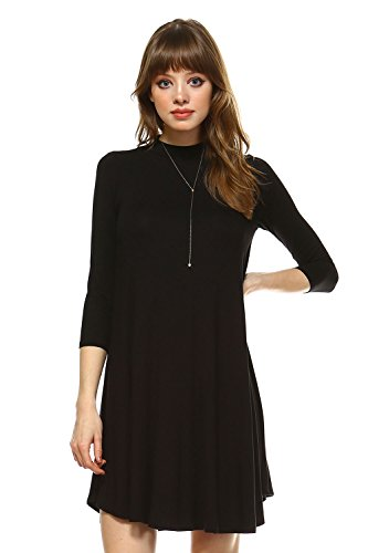 Frumoss Women's 3/4 Sleeve Casual Loose T-Shirt Dress Black
