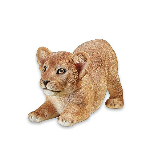 (Collections Etc Lion Cub Animal Garden Statues - Realistic Textured Hand-Painted Figurine for Yard or Any Room in Home)