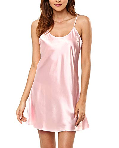 KENANCY Women's Pajamas Satin Lingerie Nightgown Spaghetti Strap Sleepwear Silk Chemise Mini Slip Short Nightwear Light - Tunic Satin Silk