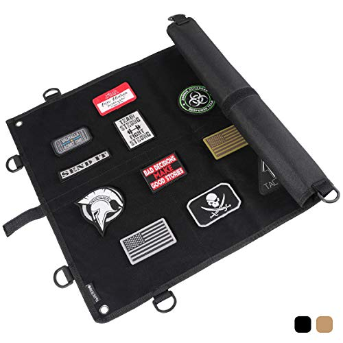 14er Tactical Morale Patch Panel   Large 24 x 18 Hook & Loop Surface & Ballistic Backing w 360-deg D-Rings & Strong Wrap-Strap   Perfect Display for Gun Safe, Wall, Board, Case, Frame (Black)