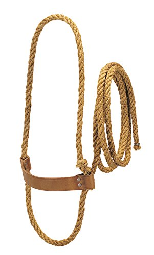 Poly Halter Rope - Weaver Leather Livestock Sisal Cow Rope Halter with Harness Leather Noseband