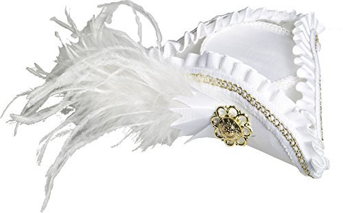 Forum Novelties 71136 Unisex-Adults Mini Tri Corner Hat, White, Standard, -