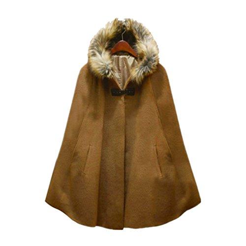 Manteau Hiver Capuche A Châle Unie Veste Couleur Mode Casual Wanyang De Rétro Chameau Femmes Automne Et IHFwP4