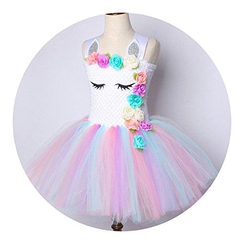 Flower Tutu Dress Pastel Rainbow Princess Birthday Party Dress Costume 1-14Y,Only Dress,11