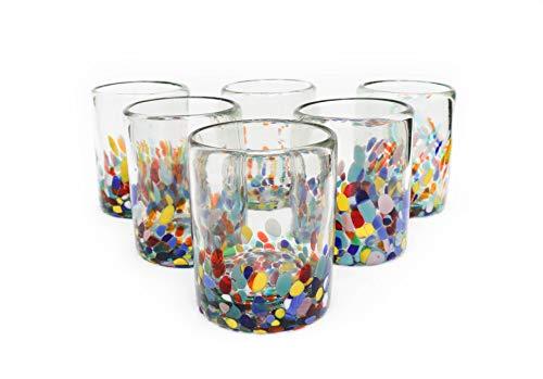 - Mexican Blown Glass Drinking Glasses Confetti Colorful Glassware Unique Recycled Glass Multi Color Hand Blown. 10 Oz.