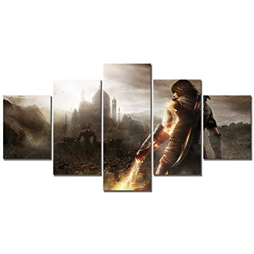 WSJXY 5 Piece Wall Art Canvas Painting Canvas Printed Poster 5 Pcs Prince of Persia The Forgotten Sands Video Game HD Picture Home Decoration Wall Art Frameless (Prince Of Persia The Forgotten Sands Images)