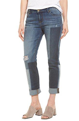KUT from the Kloth Womens Catherine Denim Patchwork Boyfriend Jeans Blue 4 ()