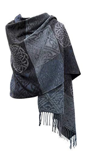 Irish Shawl Wrap Chenille & Wool Gray 71