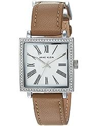 Anne Klein Womens AK/2939SVTN Swarovski Crystal Accented Silver-Tone and Tan Leather Strap Watch