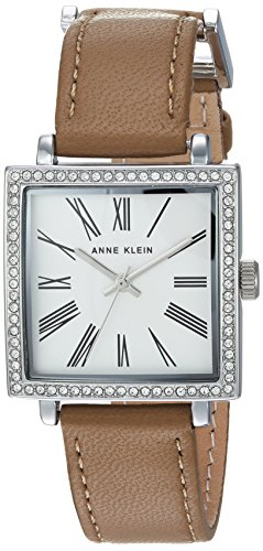 Anne Klein Women's AK/2939SVTN Swarovski Crystal Accented Silver-Tone and Tan Leather Strap Watch Chloe Calfskin Leather