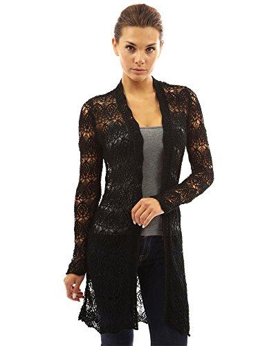 Crochet Knit Sweater - PattyBoutik Women's Open Stitch Crochet Lace Cardigan (Black XL)