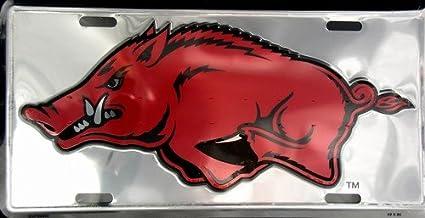 Arkansas Razorbacks Red 6x12 Aluminum License Plate Tag