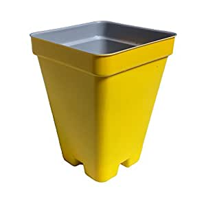 """2.5"""" Deep Press Fit Flower Pots - Made in USA - Premium Quality, Reusable, Recyclable - Garden, Hydroponics, Seed Starting, Tomatoes (Actual Dimensions 2.6"""" Square By 3.44"""" Deep) (Yellow, 216)"""