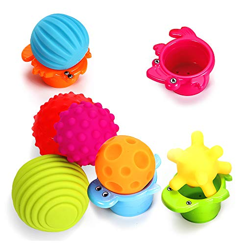 Sensory Balls for Kids: Best Textured Multi Ball Set for Babies & Toddlers, 6 Colorful Soft and Squeezy Sensory Toys with Free Stacking Cups- Perfect Stress Relief Toy for Kids ()