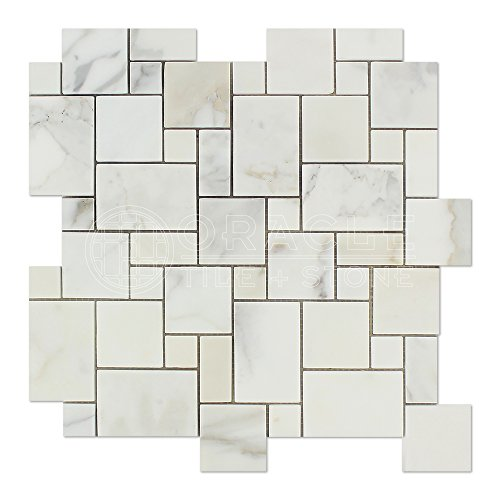 (Calacatta Gold (Italian Calcutta) Marble Mini-Versailles Pattern Mosaic, Honed)