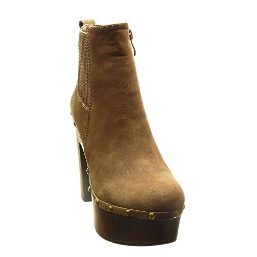 Angkorly - Chaussure Mode Bottine chelsea boots plateforme montante femme clouté Talon haut bloc 11.5 CM - Taupe