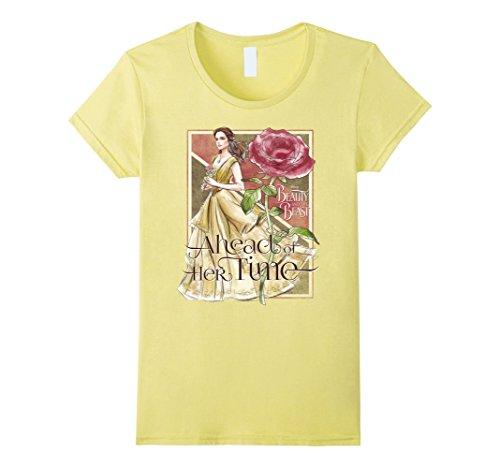 Time Graphic Tee (Womens Disney Beauty & The Beast Belle Ahead Time Graphic T-Shirt Medium Lemon)