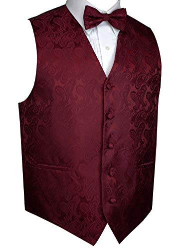 Men's Formal, Prom, Wedding, Tuxedo Vest, Bow-Tie & Hankie Set in Paisley (Burgundy, S)