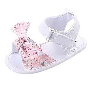 Baoblaze Summer Baby Girls Cozy Cloth Sandal Shoes Infant Anti-Slip Soft Shoes - Pink, 0-6Months