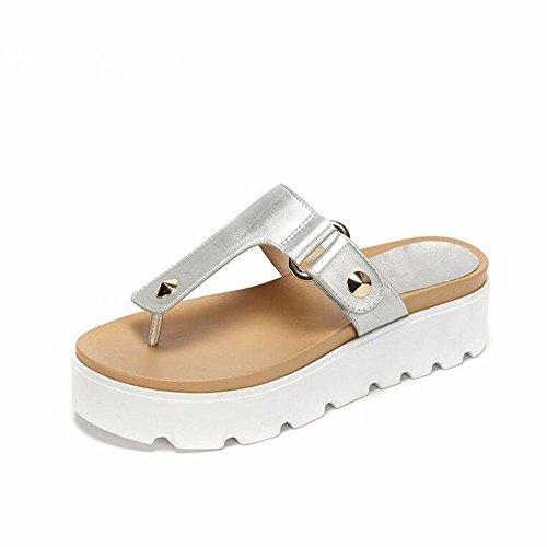 outdoor punta e libero YMFIE aria antislittamento punta punta tempo casual pantofole silvery prova sandali estate Ladies' wqq8U1PX