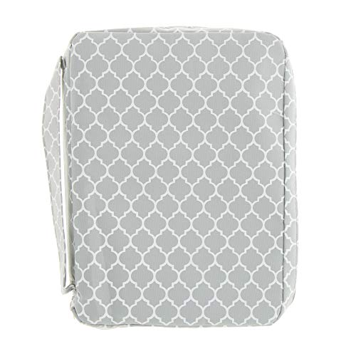 Good Ruby Compact Bible Cover with Carrying Handle, Book Protector with Pocket Colorful Trellis Bible Carrying Case with Zipper and Pen Holder for Women, Teens, Girls, Females (Grey)