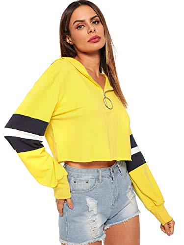 SweatyRocks Women's Zip Front O-Ring Crop Striped Hoodie Sweatshirt Pullover Tops