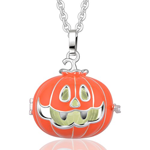 Eudora Harmony Bola 18K Halloween Mexican Ball Prayer Bell Pendant 30'' Silver Plated Necklace (Painted Pregnant Belly For Halloween)