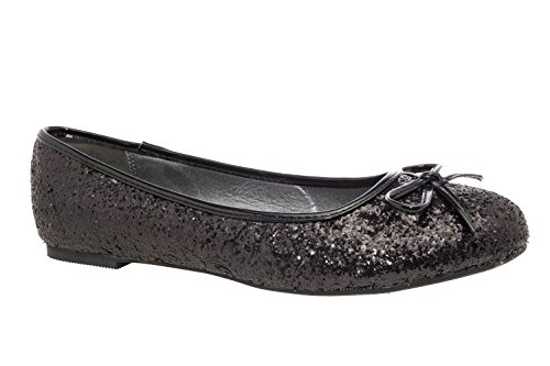 Andres Machado.TG104CHAROL.Glitter.Blue Faux Patent Leather Ballet Flats with Bow. Large Sizes.Size Range: UK 8 to 11.5/EU 42 to 46 Black Glitter klJx1beo