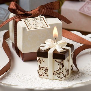 Gift Box Candles: Ivory and Brown Gift Box Collection Candles, 40