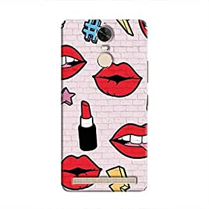 Cover it up Lipstick Stickers Wall Hard Case for Lenovo K5 Note - Multi Color