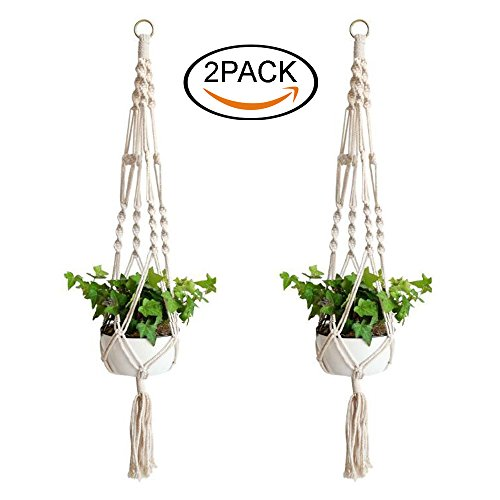UPC 797646204229, Renashed Macrame Plant Hanger Planter Basket Cotton Rope 2 Pack 39 Inch Flower Pot Plant Holder Indoor Outdoor, 4 Legs