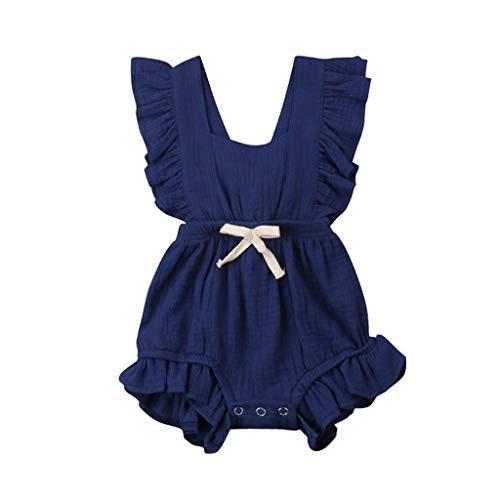 (MOGOV Baby Girls Multi-Color Solid Ruffles Sleeve Strapless Shoulder Backcross Romper Bodysuit Outfits Dark)