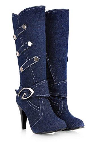 YE Damen High Heels Stiletto Plateau Denim Kniehohe Stiefel mit Schnallen Boots Fashion Elegant Herbst Winter Schuhe