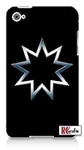 Bahai Egyptian Religious 9 Point Star Symbol Blue Smokey Chrome Apple ipod 4 Quality Hard Case Snap On Skin for ipod 4/4G (WHITE)