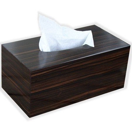 Wooden Tissue Box Cover In Reconstituted Striped Ebony Veneer Rectangular Family Size. (Kleenex Opening With Bottom) - Halloween Costumes Nz Cheap