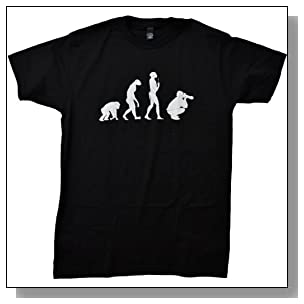 Evolution of the Photographer | Cute, Funny Photography Unisex T-shirt-Adult, X-Large, Black