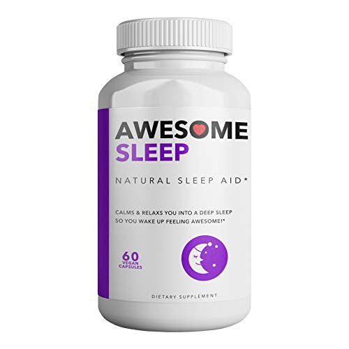Awesome Sleep | All Natural Sleep Aid | 60 Non-Habit Forming Vegan Capsules | Herbal Supplement with Melatonin, Valerian Root, Chamomile