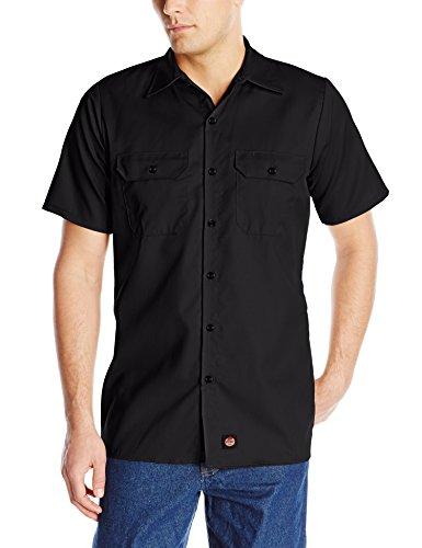 Red Kap Men's Utility Uniform Shirt, Black, Short Sleeve (Black Utility Shirt)