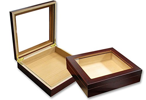 Prestige Import Group - The Chateau Glasstop Small Humidor - Capacity: 20 Cigars - Color: Cherry