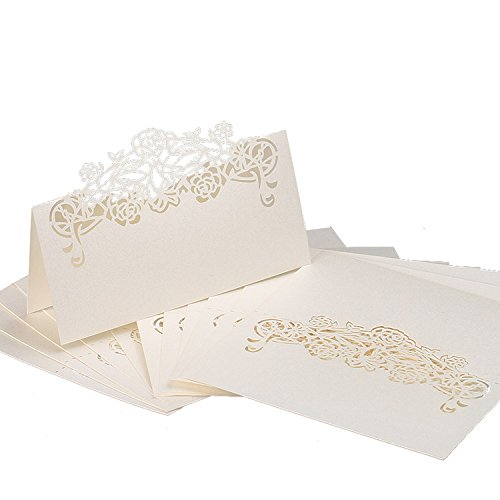 Name Place (60pcs Paper Wedding Table Name Place Cards Personalised Reception Decoration with White Lace Pattern Cardstock for Wedding Favors,Party)