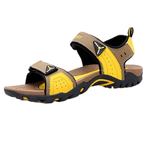 SHUNLIU Herren Sandalen Trend Sport Sandalen Outdoor Schuhe Sandaletten Kühlen Sommer Braun-Gelb