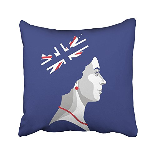 Emvency Decorative Throw Pillow Covers Cases Blue England 22 April Portrait Queen Elizabeth Ii Rightly Colors British Flag Red Head 16x16 inches Pillowcases Case Cover Cushion Two Sided
