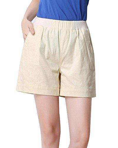 Basic Damen Kurze Sport Shorts mit Bundfalten Kurze Hose mit ...
