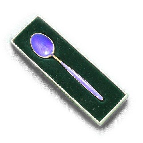 (Demitasse Spoon by David Andersen, Sterling, Enamel, Cobalt Blue)